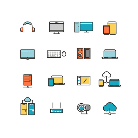 office appliances: Home and office appliances. Personal electronics and multimedia devices. Linear vector color icons set. Multimedia electronic device, home digital device multimedia, multimedia device illustration Illustration