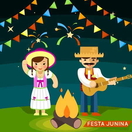 Festa Junina. St Johns june festival. Party brazil celebration. Vector illustration