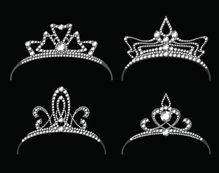 corona de princesa: Diademas con conjunto de vectores de diamante. Reina o princesa corona real con joyería
