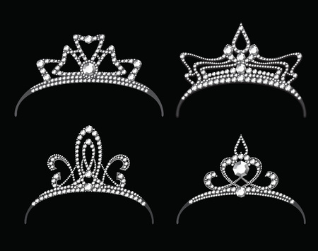 princess crown: Tiaras with diamond vector set. Queen royal or princess crown with jewelry Illustration