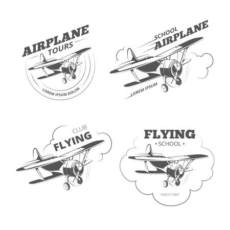 aircraft: Vintage airplane or aircraft. Aviation retro emblems vector illustration Illustration