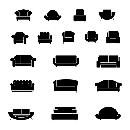 couches: Couch and armchair furniture, chairs and sofa interior elements. Vector illustration Illustration