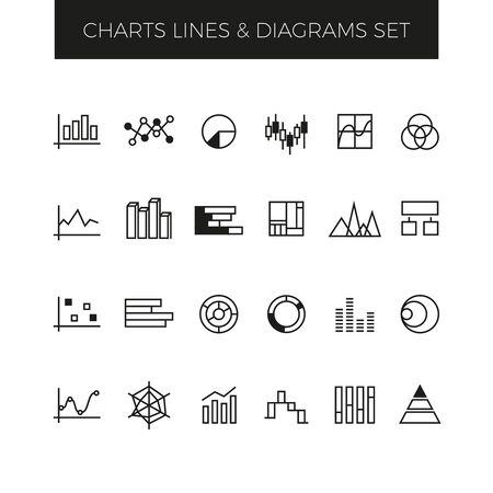 statistic: Business line vector charts, graphs and diagrams set. Graph for business, diagram and chart statistic, icon chart graphic illustration