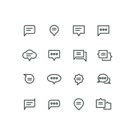speech icon: Bubble linear chat, speech icon, communication, dialog illustration