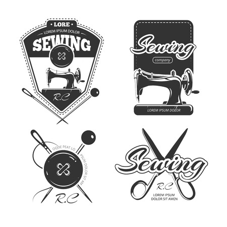 sew: Tailor shop retro vector logo and badges set. Vintage craft store labels illustration