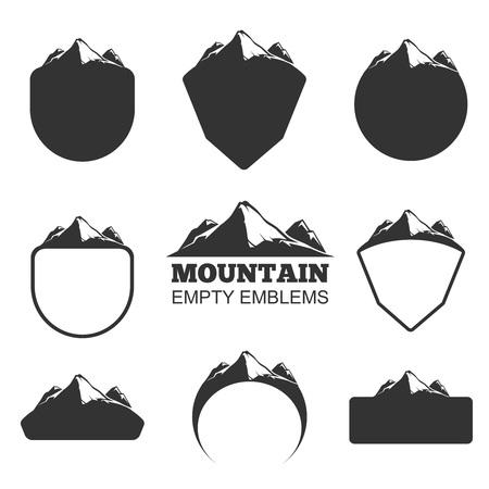Retro insignias vector de montaña logotipo negro ilustración Logos