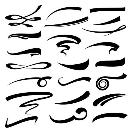 lettering a mano vettore sottolinea set. Sottolineato marcatore tipografia o tratti di penna