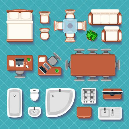Vista superior de vectores iconos planos interiores. Sitio interior del mueble. Mesa, silla y sofá ilustración Ilustración de vector