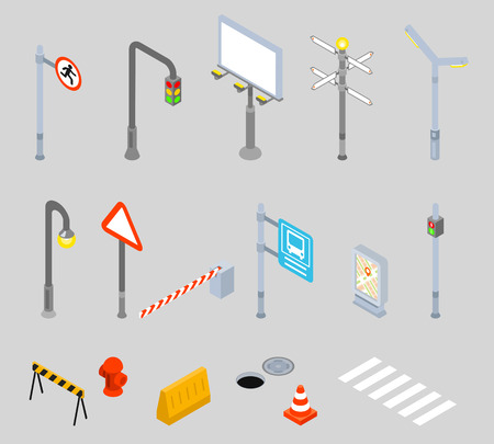 manage transportation: Isometric traffic management icons. Urban 3D vector street traffic icons. Street signs, zebra crossing and street light