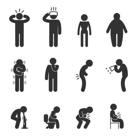 enfermos: Los síntomas de la enfermedad de los iconos de la gente. Enfermo y enfermo, gripe y el frío. pictogramas vector
