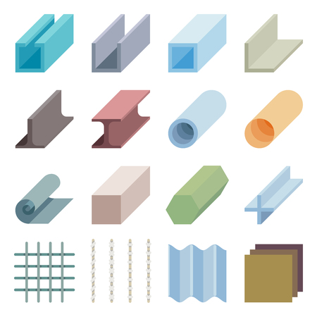 metal industry: Metallurgy products vector icons. Isometric 3d elements. Industry material iron metal illustration