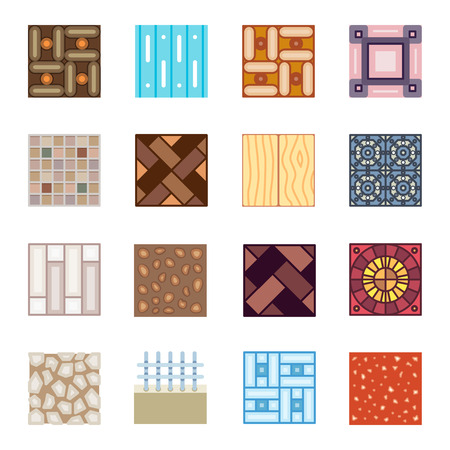 floor covering: Floor materials flat vector icons. Tiles construction decoration laminate illustration