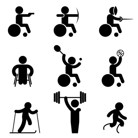 Sport paralympic games icons. Disabled sport and invalid people sport signs Illustration
