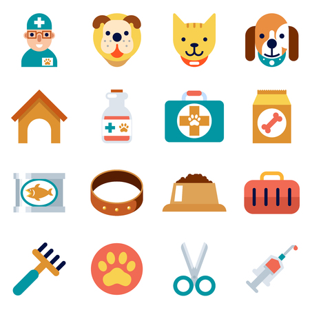 animal health: Veterinary flat icons. Pet health care and animal cat and dog medicine signs. Vector illustration Illustration