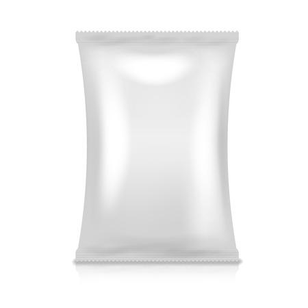 encasement: Foil pack vector. Food snack bag. Vacuum packaging product illustration