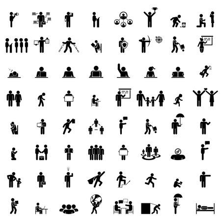 la vie des gens d'affaires. groupe d'affaires isolé, travail pictogrammes humains sur blanc