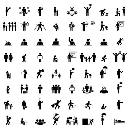 Business people life. Isolated businessman group, work human pictograms on white Stock Illustratie