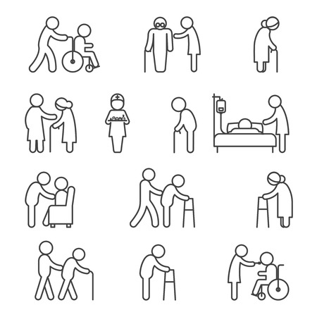 assistance: Disabled nursing and disabled healthcare icons. Caring for disabled thin line vector signs Illustration
