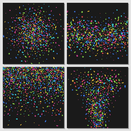 event party: Confetti isolated on black background. Festive patterns decoration, event party, christmas glitter illustration