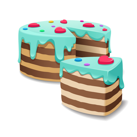 trozo de pastel: Cake and Cakes piece or pie slice vector. Cream cake birthday, sweet bakery food illustration