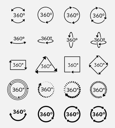 각도 360도 벡터 아이콘을 설정합니다. 기하, 측정 회전 화살표, 표지판을 회전