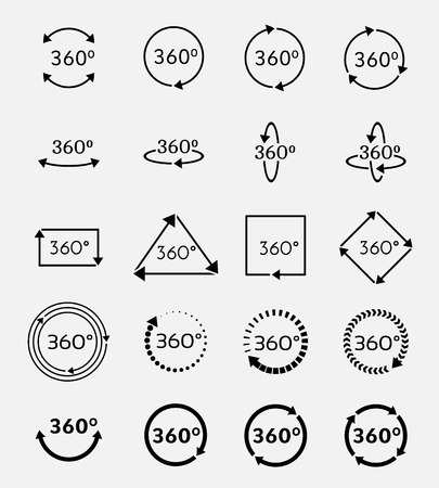 Angle 360 degrees vector icons set. Arrow geometry, measure turn, rotate signs Иллюстрация