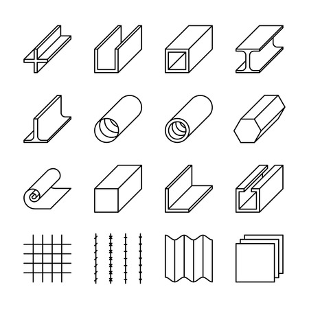iron and steel: Metallurgy products line vector icons. Metall industry, iron or steel signs, product material rod and production bar and roll illustration