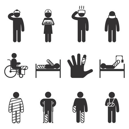 crutch: Injury icons. Trauma and sickness, broken and bruised icon set. Vector illustration Illustration