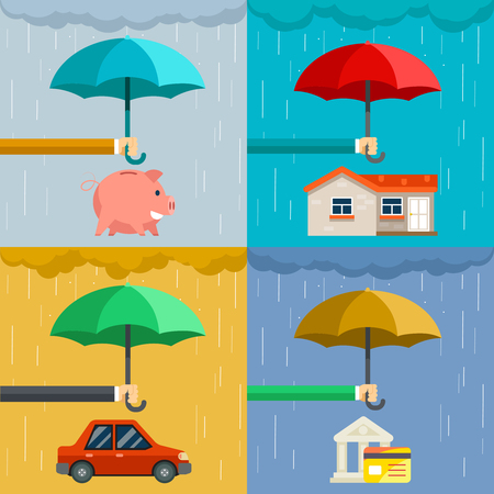 protect money: Insurance concept, security of property in flat style. Hand holding umbrella over house and car, protect money. Vector illustration