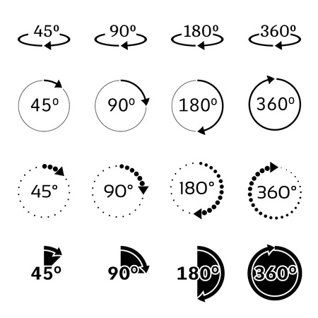 Set of angles 45, 90, 180 and 360 degrees icons. Rotation degree 90 Vector illustration