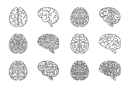 intellect: Human line brains icons. Vector outline brain intellect signs Illustration