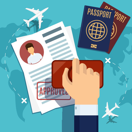 Stamping. Passport  application. Travel immigration stamp, vector illustration