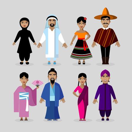 diversidad: La gente en los trajes tradicionales de cultivo. personajes de vectores conjunto nacionalidad. México, Japón, India, Oriente Medio