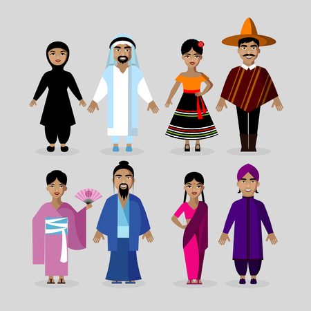 traditional culture: People in traditional culture costumes. Vector characters nationality set. Mexico, Japan, India, Middle East