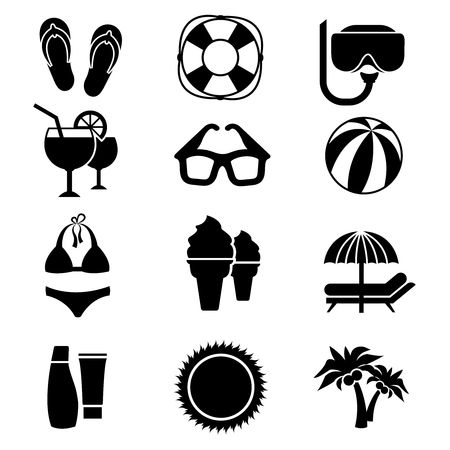 Beach Vector Icons Vacation Travel Signs Summer Relaxation