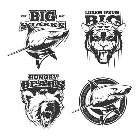 hungry: Retro labels with wild animals. Team sport or symbol. Vector illustration