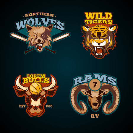 Sports labels with heads of animals. Wolf, bulls, ram and tiger emblems. Vector illustration Illustration