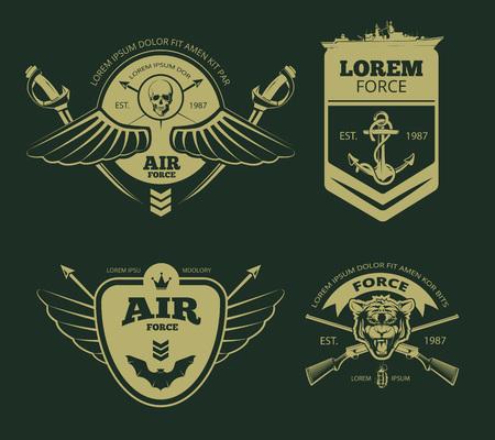 insignia: parches militares de color. insignias del ejército. ilustración vectorial