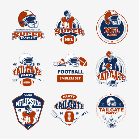 American football, rugby vector color emblems set. Label american football, sport american football, sticker or badge american football illustration