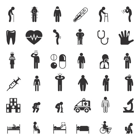 Set of sick and medical black icons isolated on white. Vector illustration Illustration