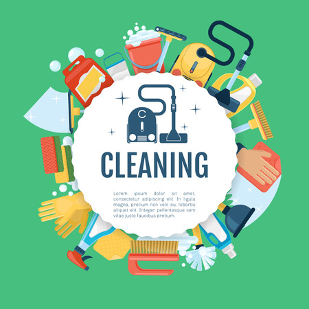 hoover: House cleaning poster. Vector household services template with supplies icons. Cleaning equipment, detergent spray, vacuum cleaner illustration
