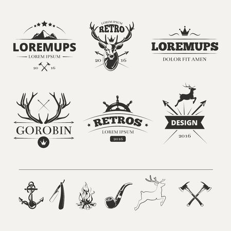 Hipster labels set with deer and antlers. Vintage animal label. Vector illustration