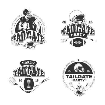 アメリカン フットボールのテールゲート党ビンテージ ラベルを設定します。スポーツ ゲームとレクリエーション。ベクトル図  イラスト・ベクター素材