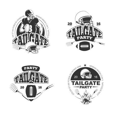 American football tailgate party vintage labels set. Sport game and recreation. Vector illustration