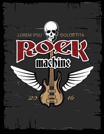 hard: Vintage hard rock poster, flyer, t-shirt design. Music concert grunge banner. Vector illustration