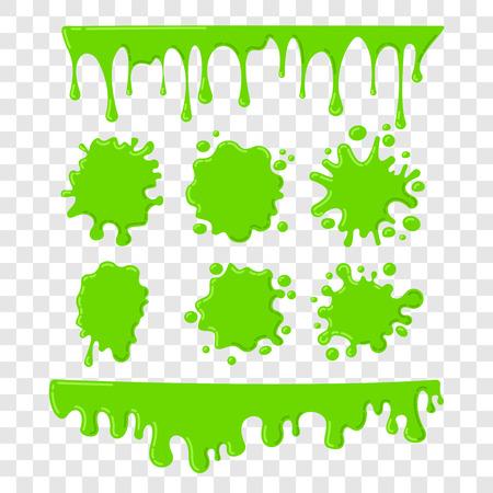 녹색 점액 벡터 체크 무늬 투명 배경에 설정합니다. 페인트 드롭 추상 그림