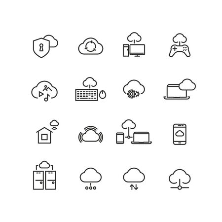 data line: Cloud computing line vector icons. Internet, communication data technologies illustration