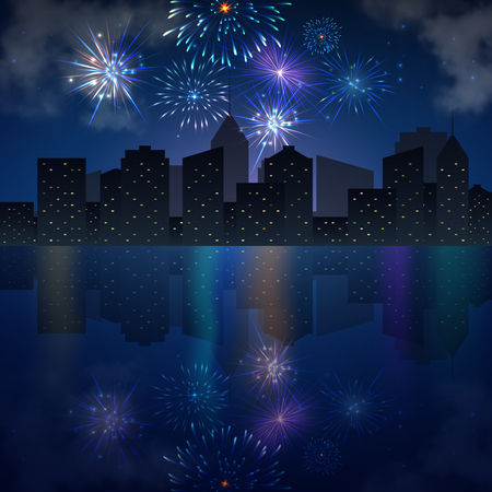 holiday background: Night city skyline with river and fireworks. Vector holiday festive background
