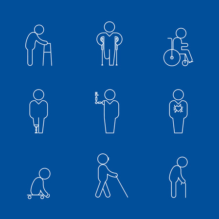 artificial leg: Disability thin line icons. Disabled people vector pictograms. Vector illustration Illustration