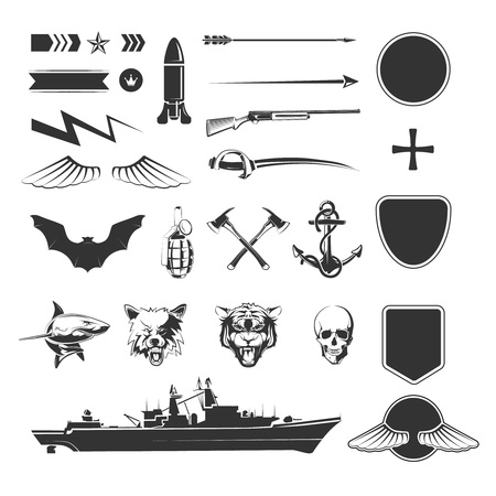 Military symbols mega set. Army military, shield weapon, ship destroyer. Vector illustration Illusztráció